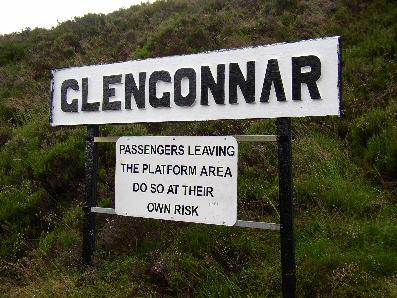 Platform sign at Glengonnar Station