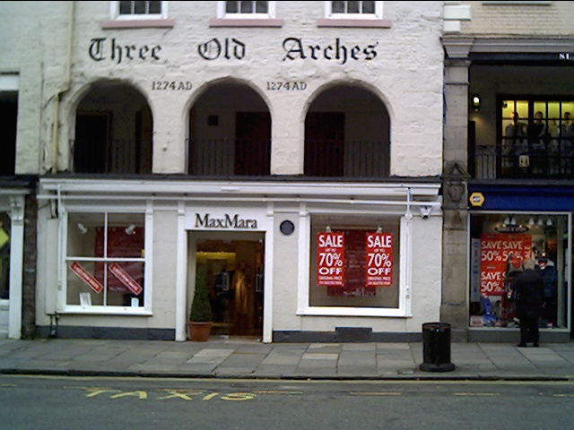 The Three Old Arches. The oldest shop front in Britain