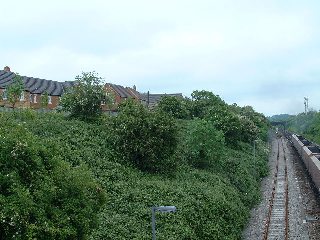 The London line with new houses at Stoke Gifford