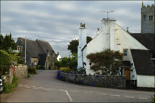 View towards Bickington main street and Village Hall