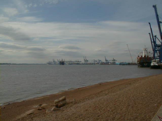 View of Felixstowe container port