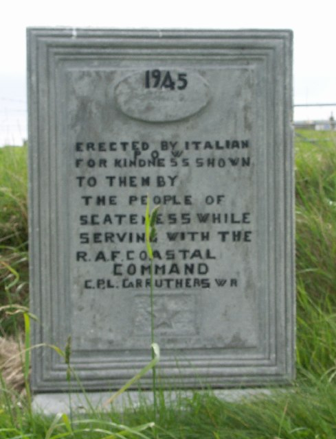 Commemorative sign at Scatness