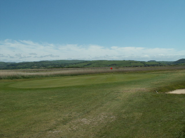 Golf course and old river course, Borth