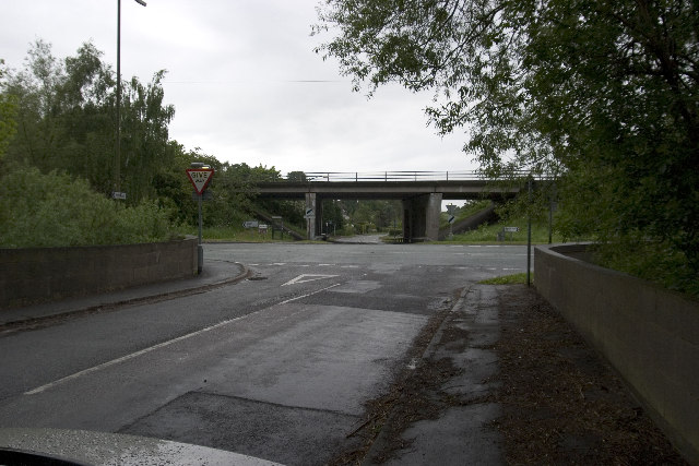 B6179 junction with road to Holbrook, A38 flyover