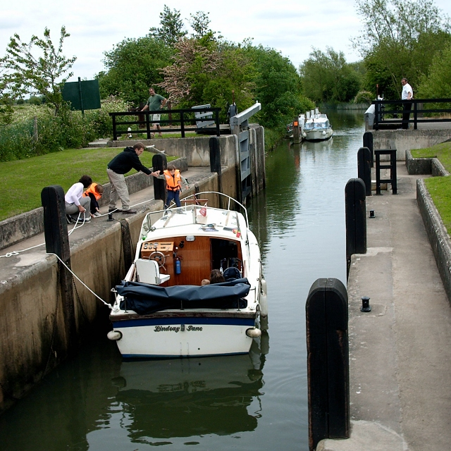 Leaving Rushey Lock on the River Thames, Oxfordshire