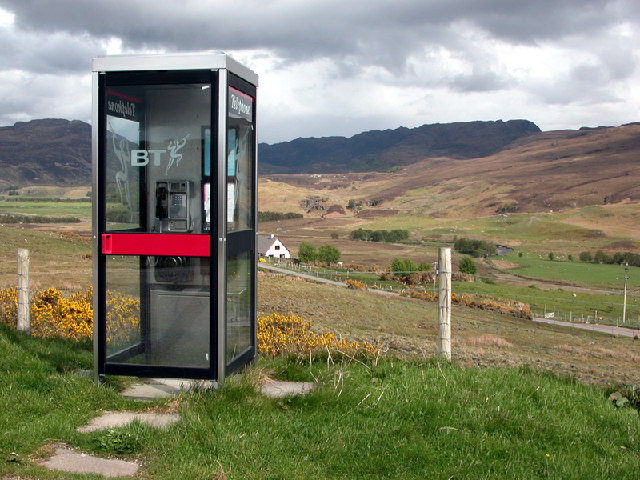 One of Ross-shire's more scenic phone boxes