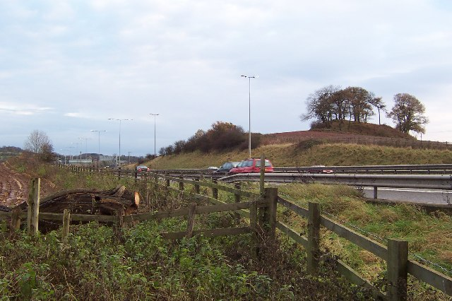 The M5 skirts a hillock