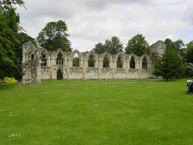 Abbey Ruins in Yorkshire Museum Gardens near River Ouse