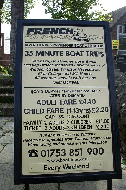 'French Brothers Ltd - Boat Trips' Sign at River Thames, Windsor