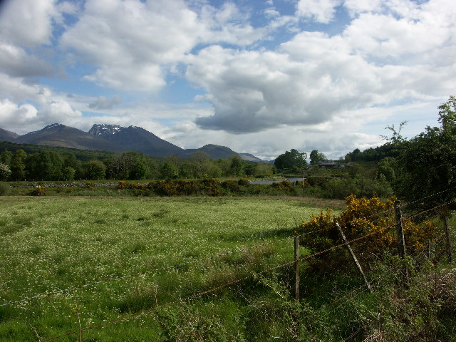 Ben Nevis and Caledonian Canal from near end of Glen Loy