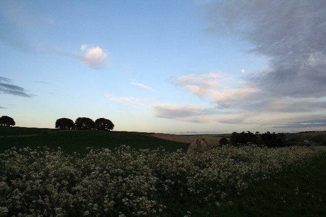 Three barrows at dusk