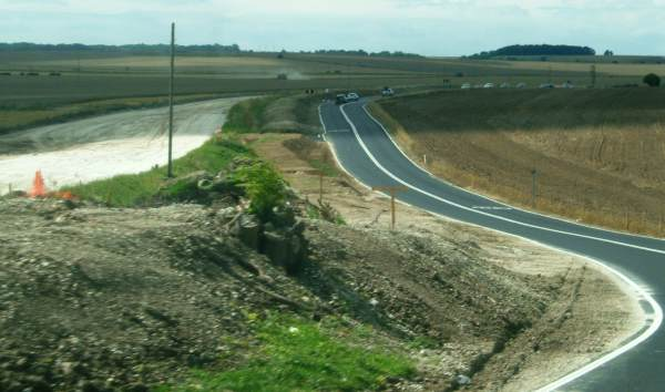 A505 Baldock Bypass construction alongside a temporary diversion