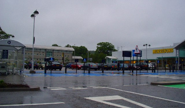Inverurie Supermarket with Divisional Police HQ in Background