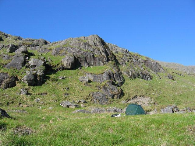 Camp in Gleann Meadail.