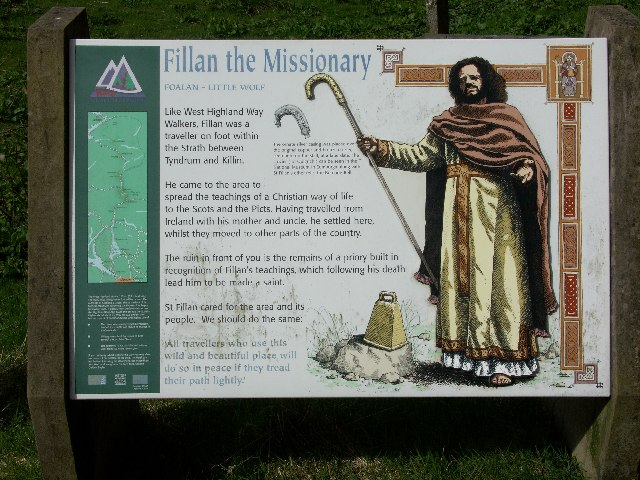 Marker board near St Fillan's chapel