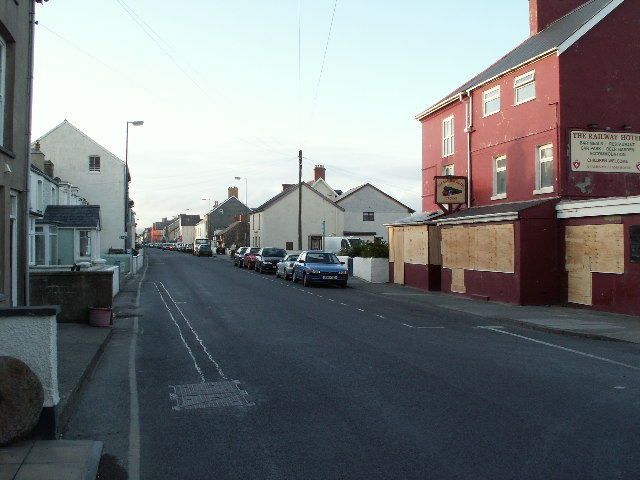 Railway Hotel and High Street, Borth