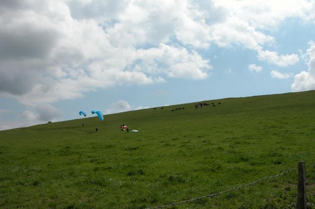 Parascending on the slopes of Liddington Castle Hill Fort.