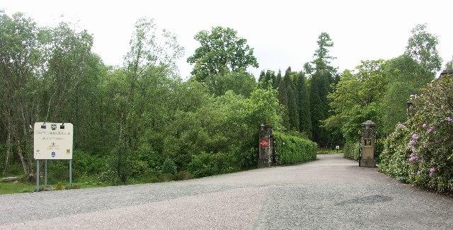 Entrance gates of Inverlochy castle Hotel