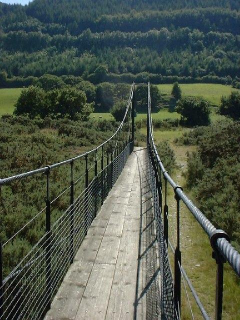 Suspension bridge across the River Ystwyth.