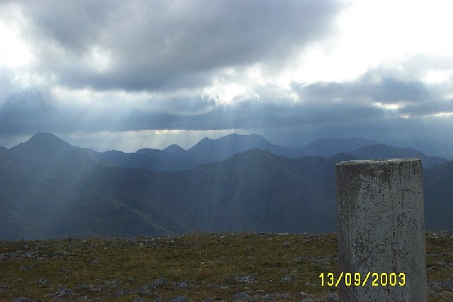 Trig Point on Beinn Fhada, Kintail