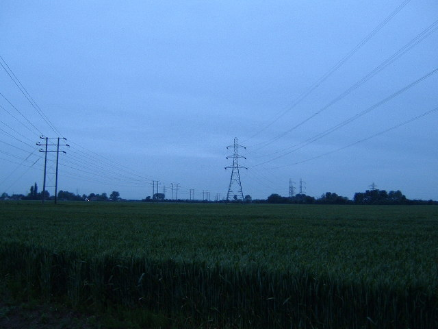 Telegraph Lines and Pylons dancing across the fields just north of Steventon.