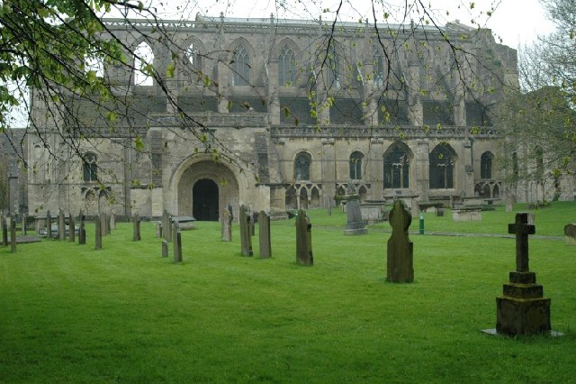 Malmesbury Abbey on a damp spring morning