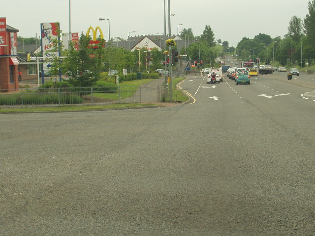 Road junction at Darnley, near M77