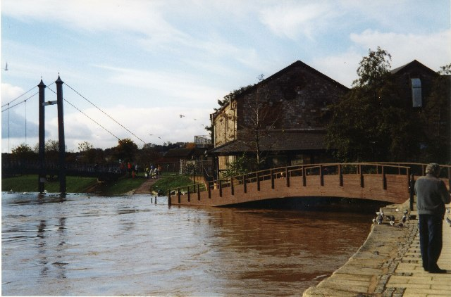 Exeter Quay, River Exe in flood
