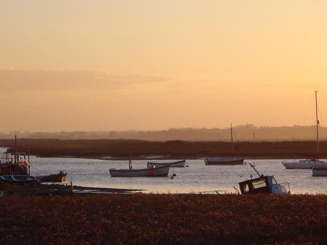 Sunset over River Alde Aldeburgh Suffolk