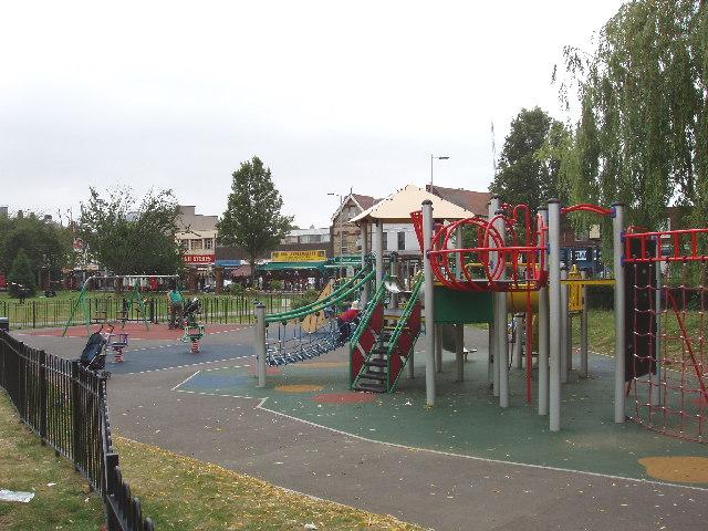 Children's playground in park, West Ealing