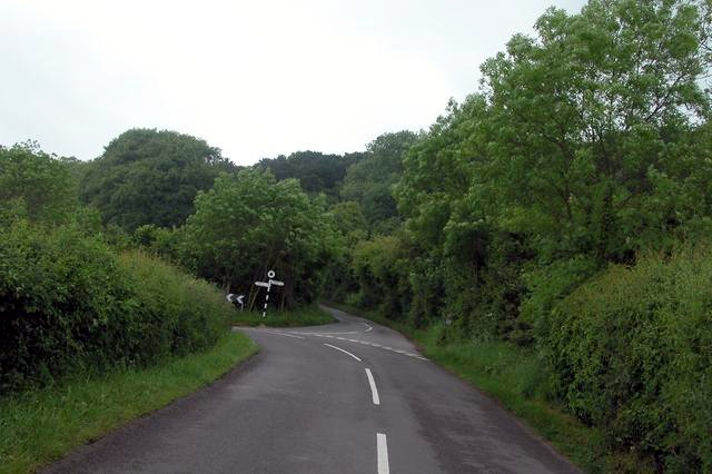Road junction at the foot of Netherly down.
