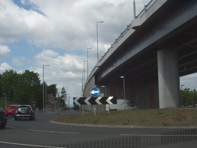 The end of the new Southern Orbital Road (A726)