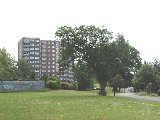 Ridding Lane Open Space, Sudbury,with flats beyond