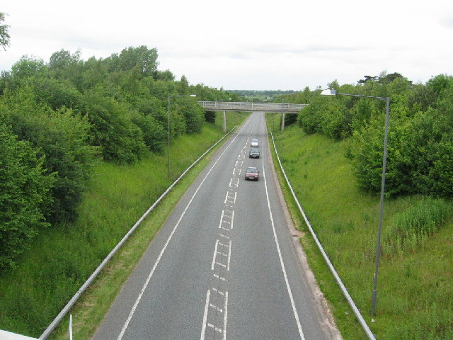 A49(T) taken from a bridge on B5153