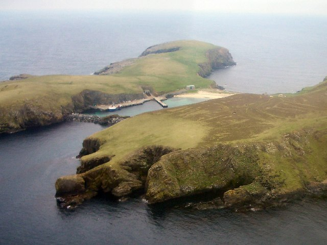 Aerial view of North Haven, Fair Isle
