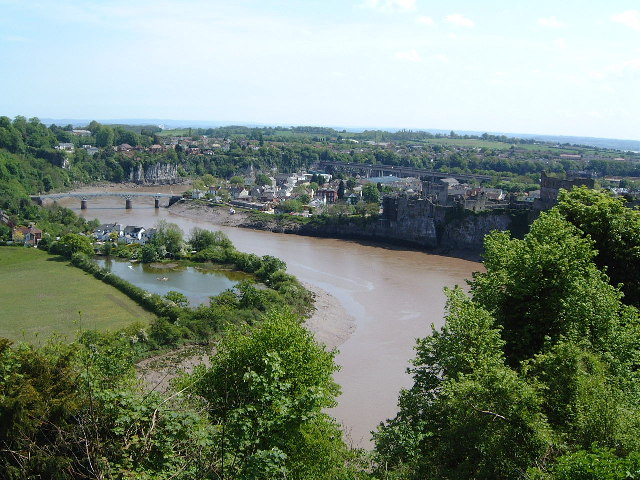 View south past Chepstow Castle of the River Wye