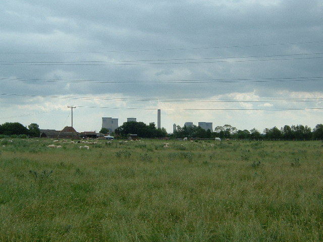 Didcot Power Station with sheep.