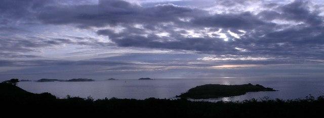 Sunrise over Toll's island taken from Pelistry farm