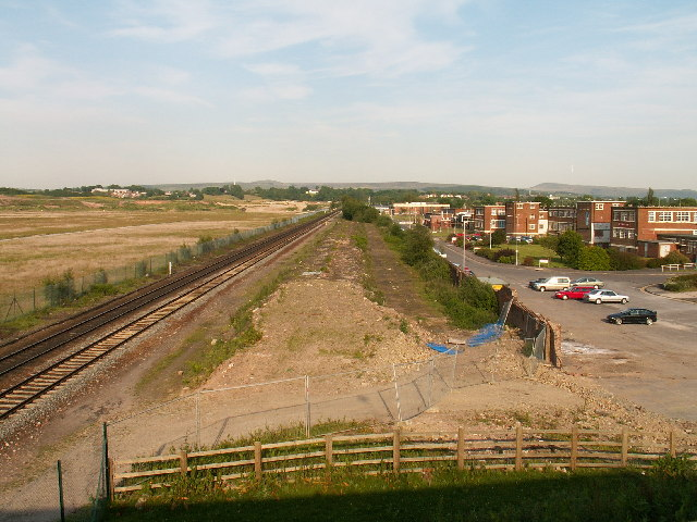 The site of Euxton railway station and the Royal Ordnance Factory
