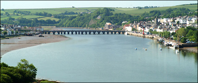 Bideford Long Bridge and view of the town