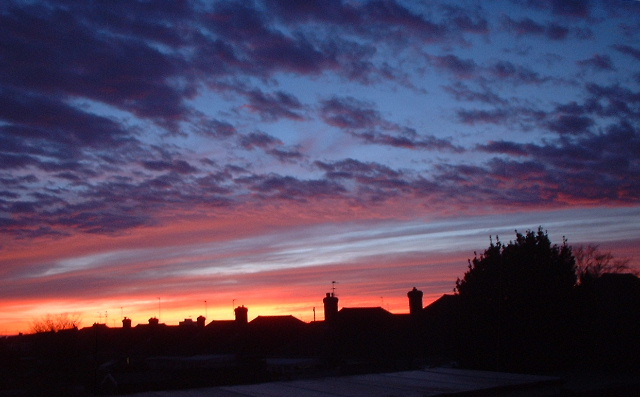 sunset over Tarring rooftops