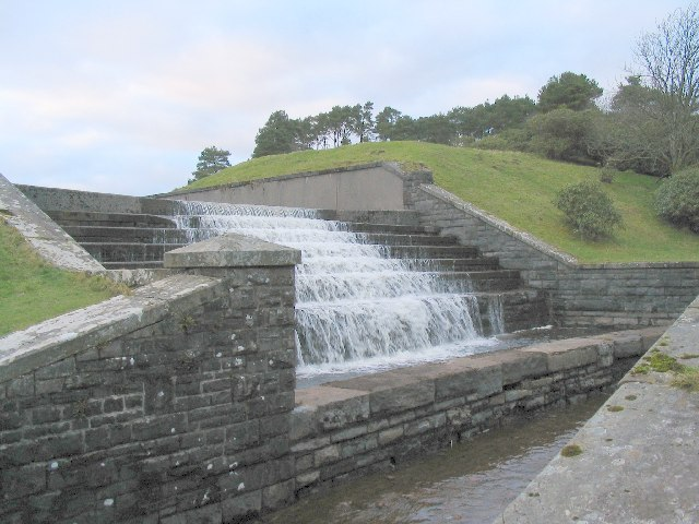 Water flowing from the Lower Neuadd Reservoir