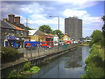 TQ2670 : River Wandle at Merton High Street (A238) by Noel Foster