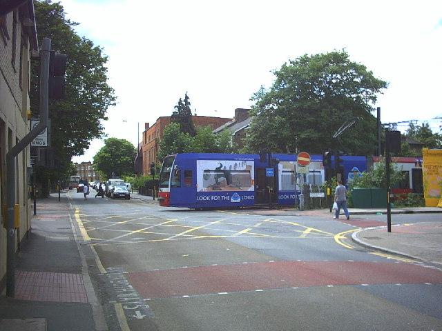 Croydon Tram at Kingston Road/Hartfield Road junction