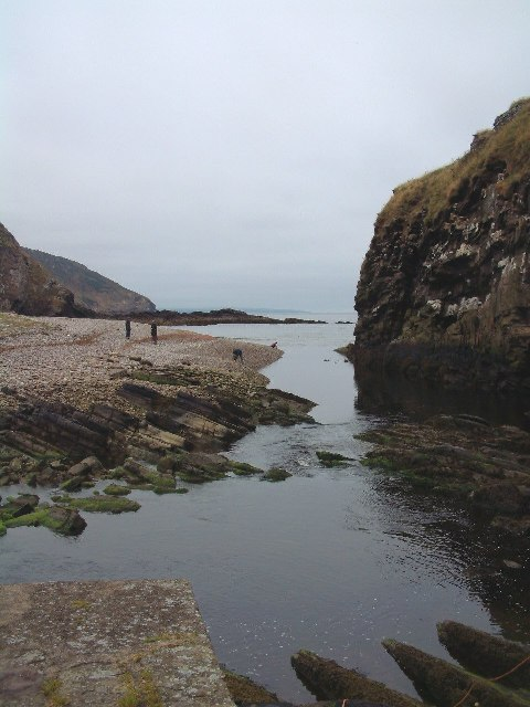 Berriedale harbour entrance and beach