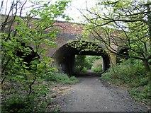 TQ2391 : Sanders Lane bridge over footpath by Hywel Williams