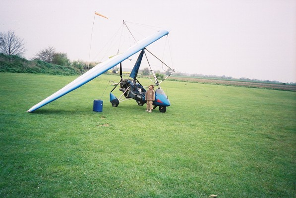 Microlight aircraft at Sandy airfield