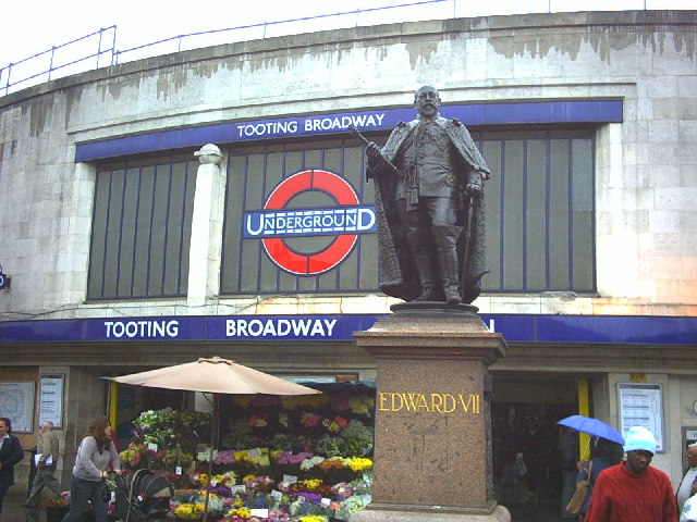 Edward VII statue outside Tooting Broadway tube station, junction A24 and A217.