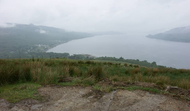 View down Loch Fyne from the hill above Strachur on a typical wet misty day