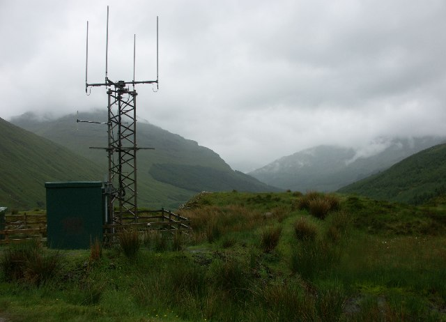 Mobile phone base station on B828 above the Rest And Be Thankful